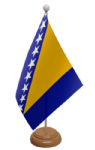 Bosnia Desk / Table Flag with wooden stand and base